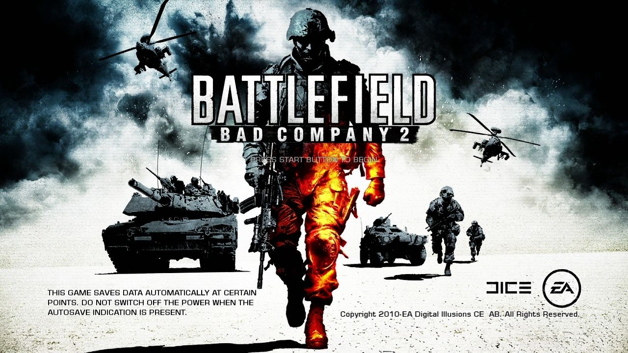 Battlefield: Bad Company 2 PlayStation 3 Title screen