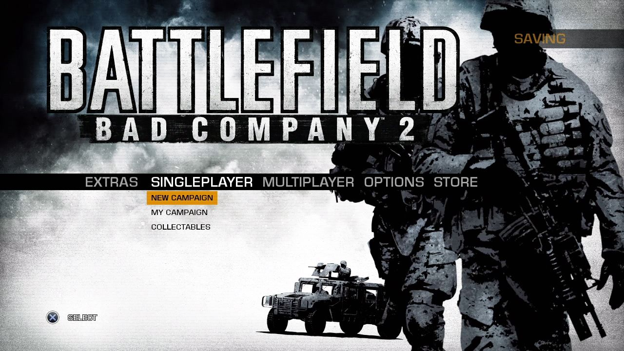 Battlefield: Bad Company 2 PlayStation 3 Main menu