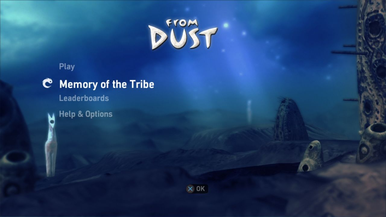 From Dust PlayStation 3 Main menu