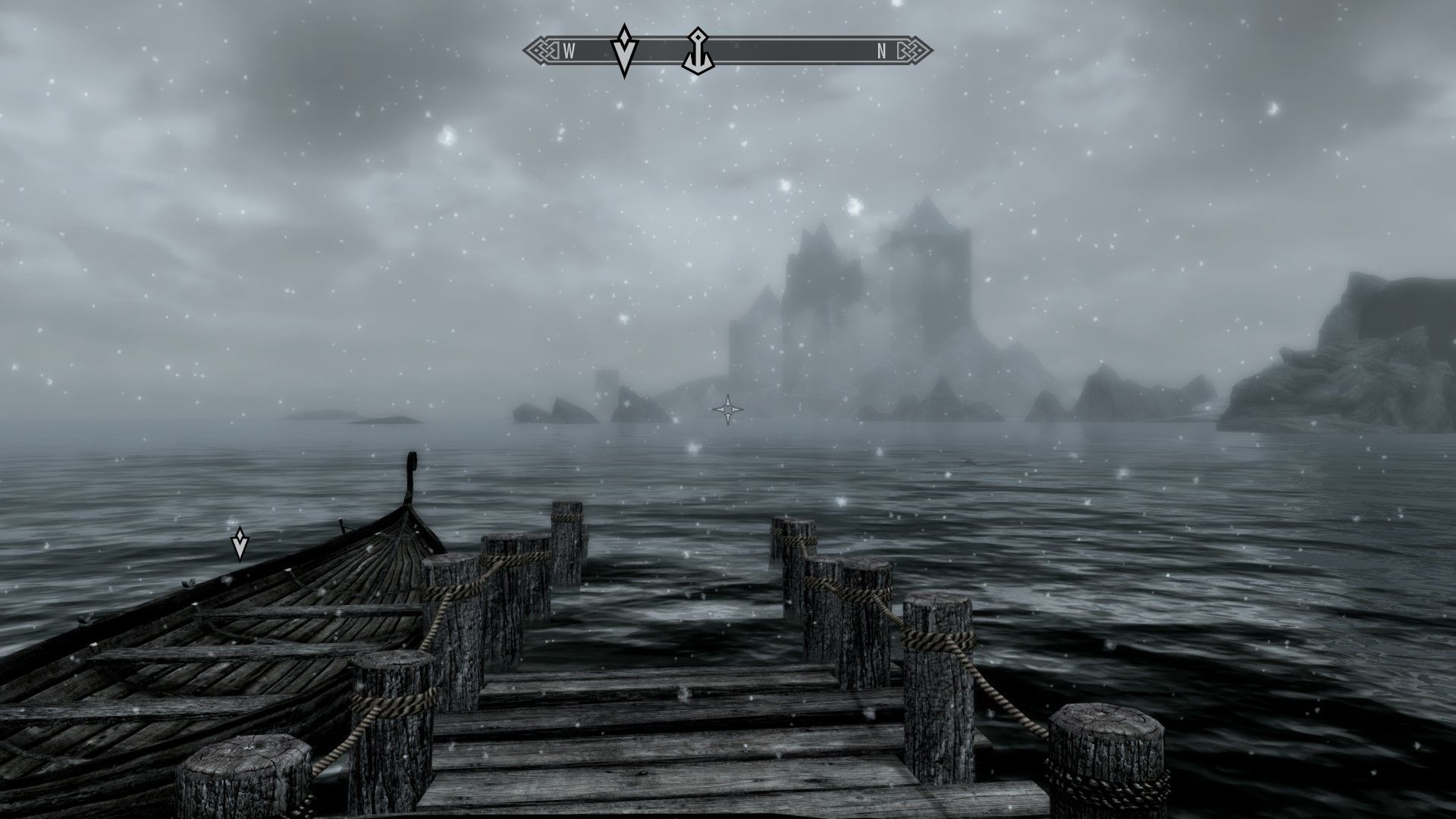 The Elder Scrolls V: Skyrim - Dawnguard Windows Castle Volkihar looms in the distant fog. Our path lies there.