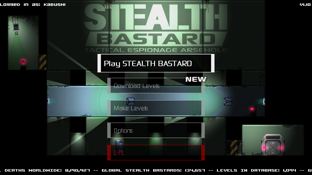 Stealth Bastard: Tactical Espionage Arsehole Windows Main menu