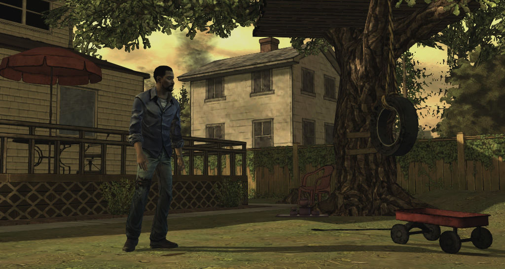 The Walking Dead Windows Episode 1 - Lee explores the garden, looking for a safe place.