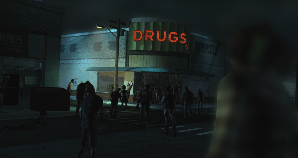 The Walking Dead Windows Episode 1 - Walkers swarm the drugs store.