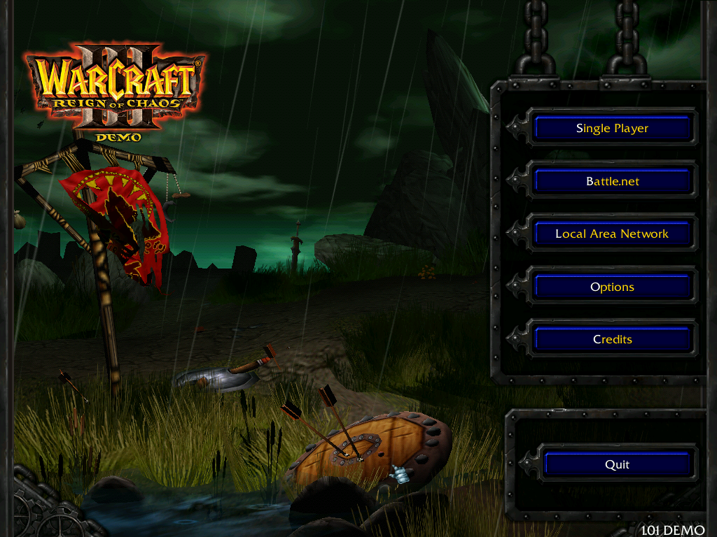 Warcraft III: Reign of Chaos (Demo Version) Windows Demo main menu screen. Not much different from the retail version.