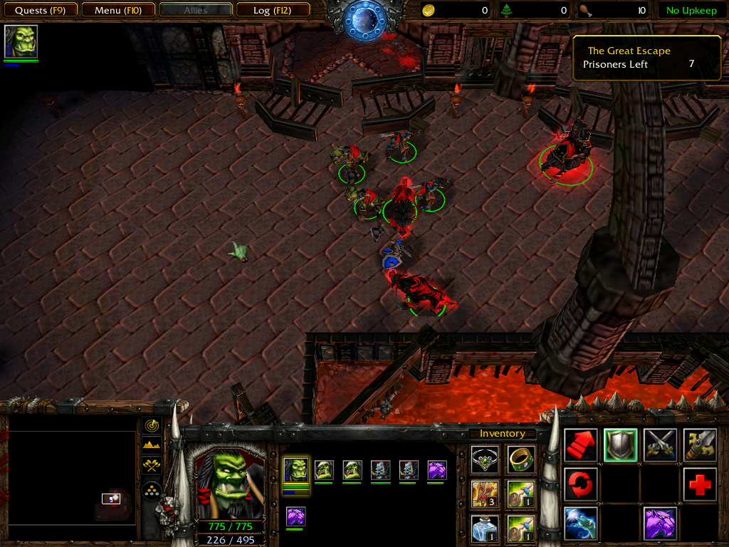 Warcraft III: Reign of Chaos (Demo Version) Windows In the dungeon level, both Orcs and Alliance troops are prisoners trying to escape. Still have to battle each other though.