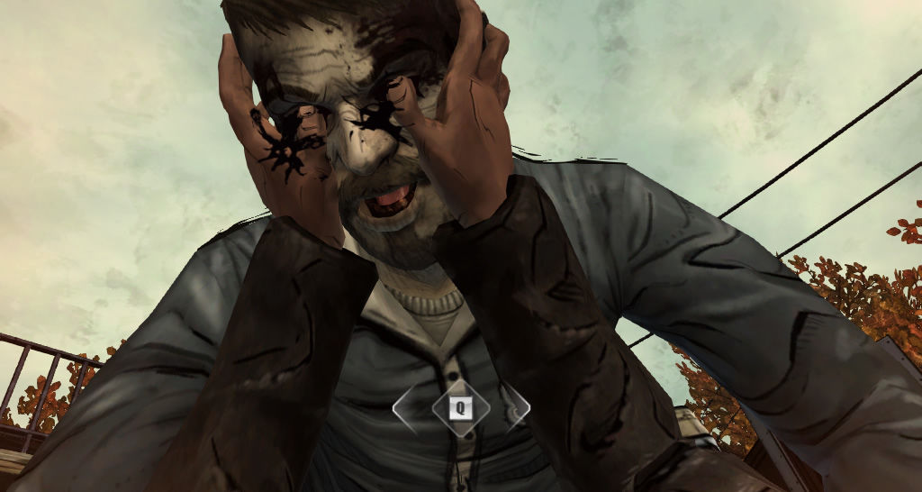 The Walking Dead Windows Episode 2 - A QTE where Lee pokes out the eyes of a zombie.