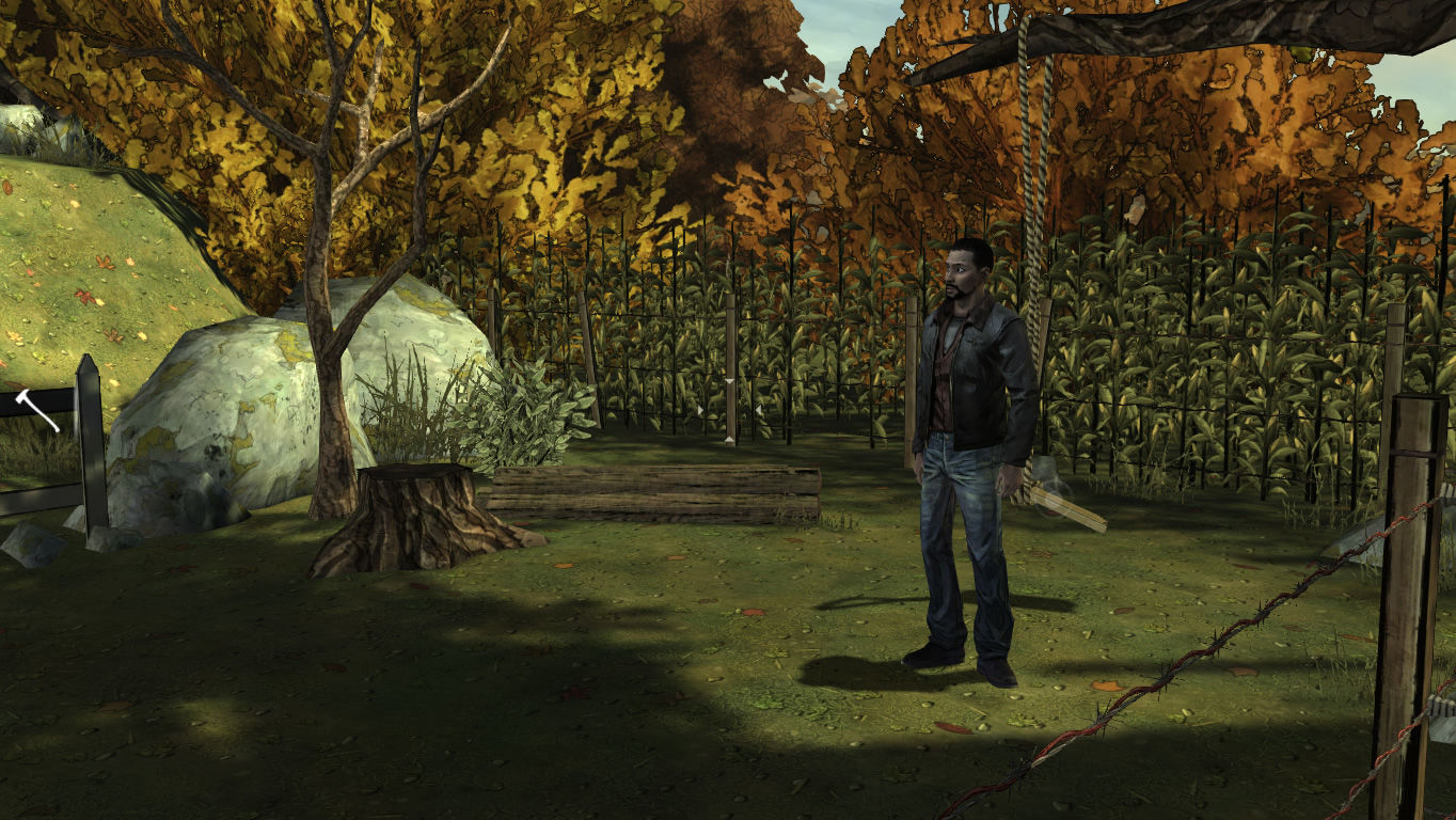 The Walking Dead Windows Episode 2 - Lee explores the garden and can attempt to fix the swing.