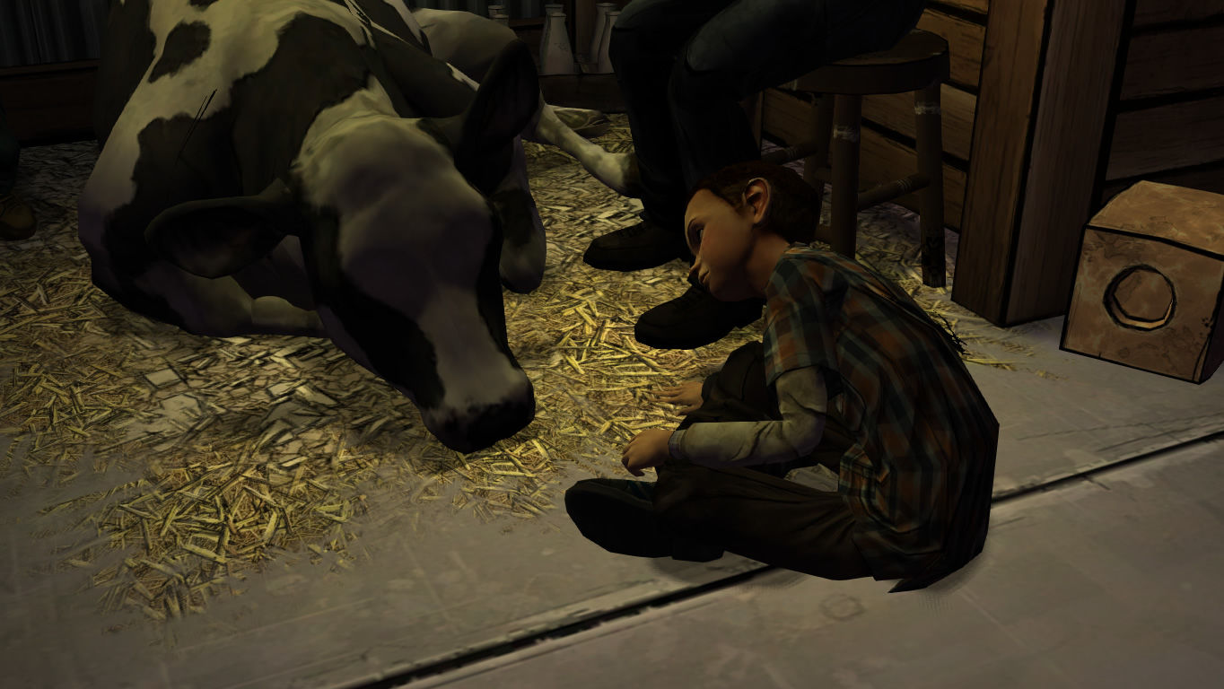 The Walking Dead Windows Episode 2 - Fortunately Katjaa can help out with the farmers' only remaining cow.