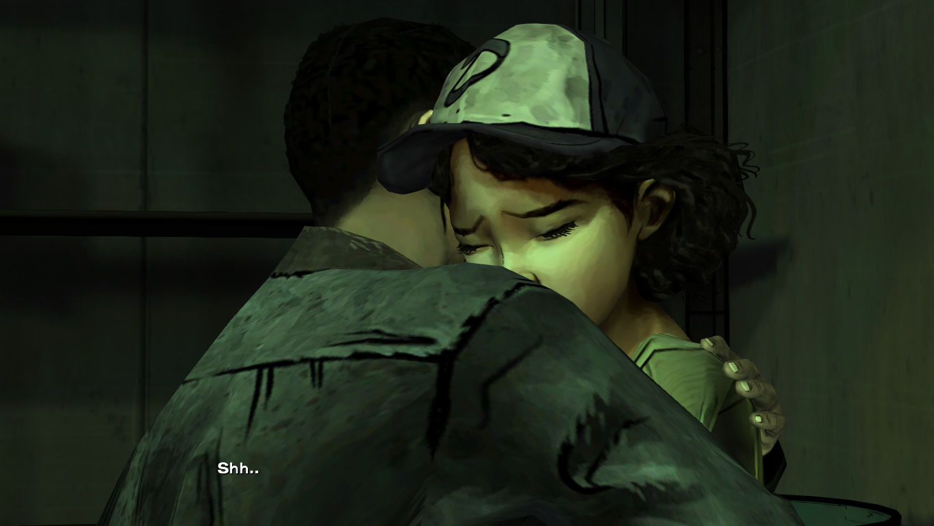 The Walking Dead Windows Episode 2 - Clementine needs comforting after witnessing something gruesome.