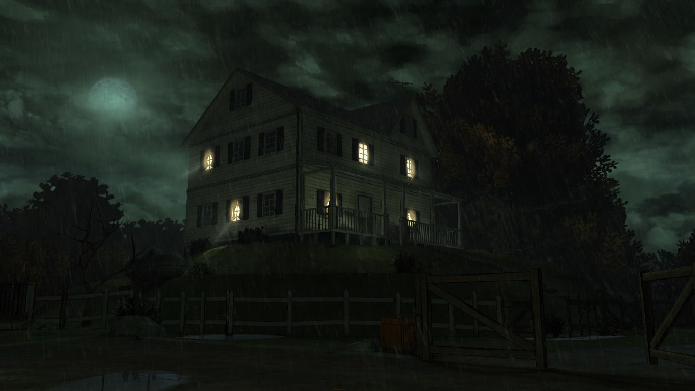 The Walking Dead Windows Episode 2 - The farm at night, in the rain