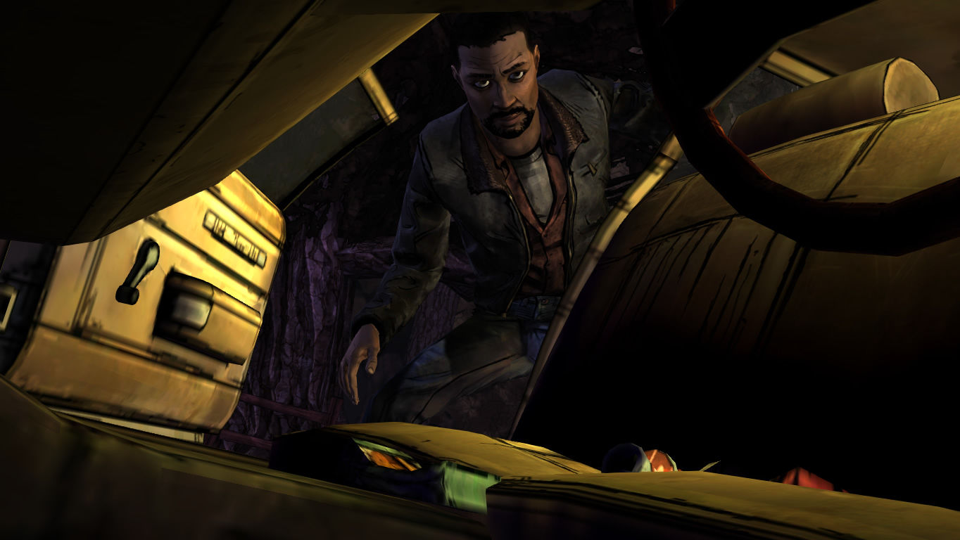 The Walking Dead Windows Episode 2 - Lee examines a car that has been left behind.