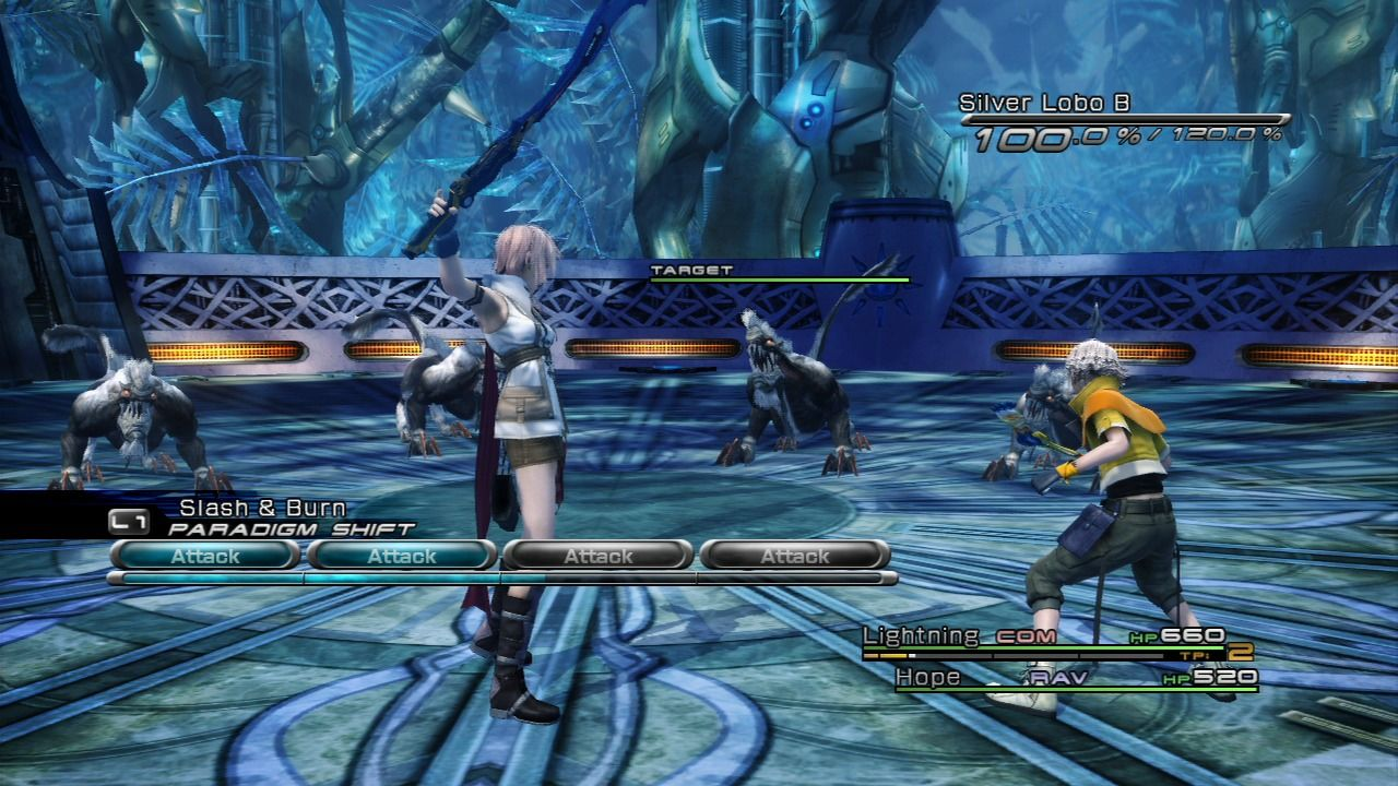 Final Fantasy XIII PlayStation 3 Lightning and Hope fighting a pack of Lobos.