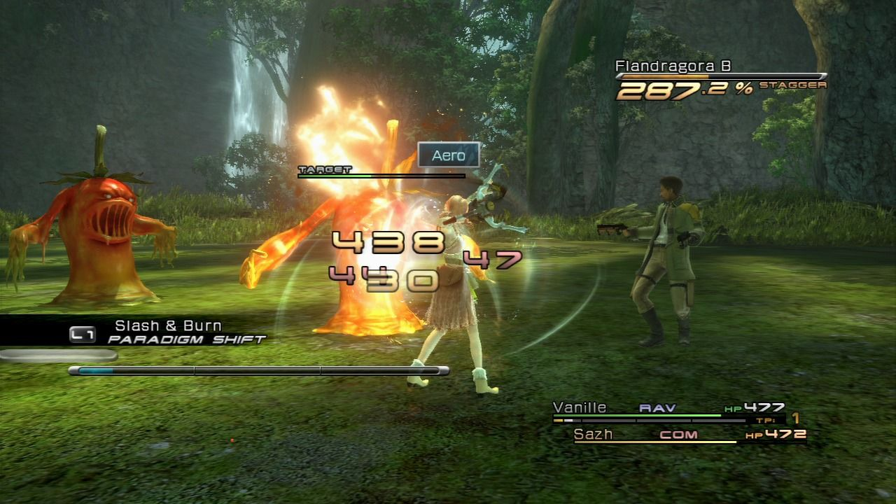 Final Fantasy XIII PlayStation 3 Flandragora is susceptible to a certain elemental attack.
