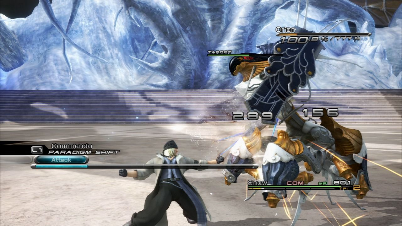 Final Fantasy XIII PlayStation 3 Snow is showing off against superior enemy... luckily he took its energy down while in Gestalt mode.