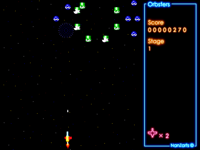 Orbsters Windows Shareware release: the enemy ships arrive in waves, the blue ones come first followed by green and then red. They swirl around the screen very prettily.