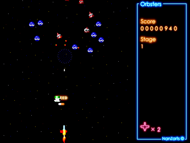 Orbsters Windows Shareware release: after a while a power-up and an enemy ship descend towards the player.