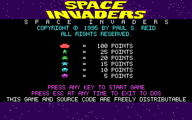 Space Invaders DOS This screen is displayed when the game loads.