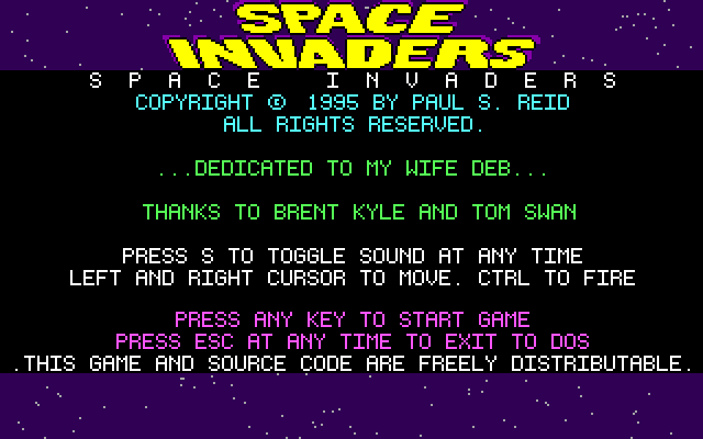 Space Invaders DOS If nothing happens the game switches to this screen which, in addition to the dedication, explains the action keys used in the game.