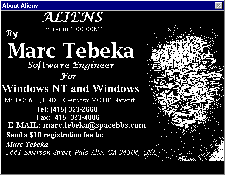 Aliens Windows 3.x Shareware version: This is the shareware reminder screen.
