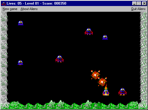 Aliens Windows 3.x Shareware version: A game is underway. The player's score and status are displayed in the title bar.
