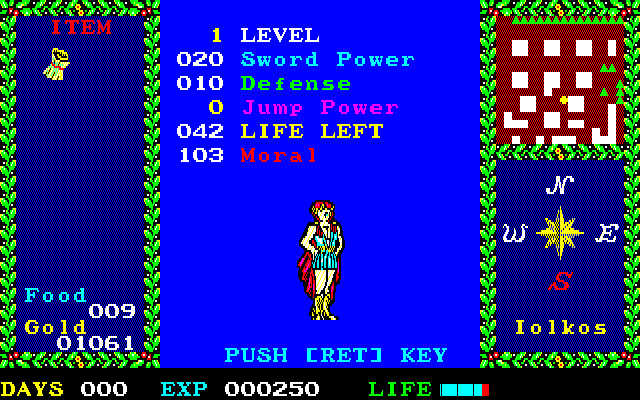 Argo PC-88 Status screen