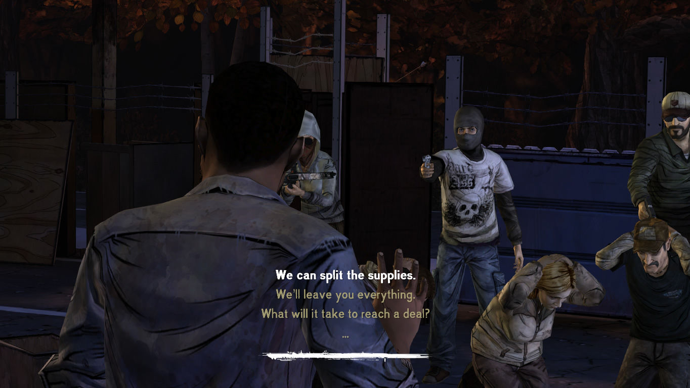 The Walking Dead Windows Episode 3 - Dialogue options during a standoff with the bandits.