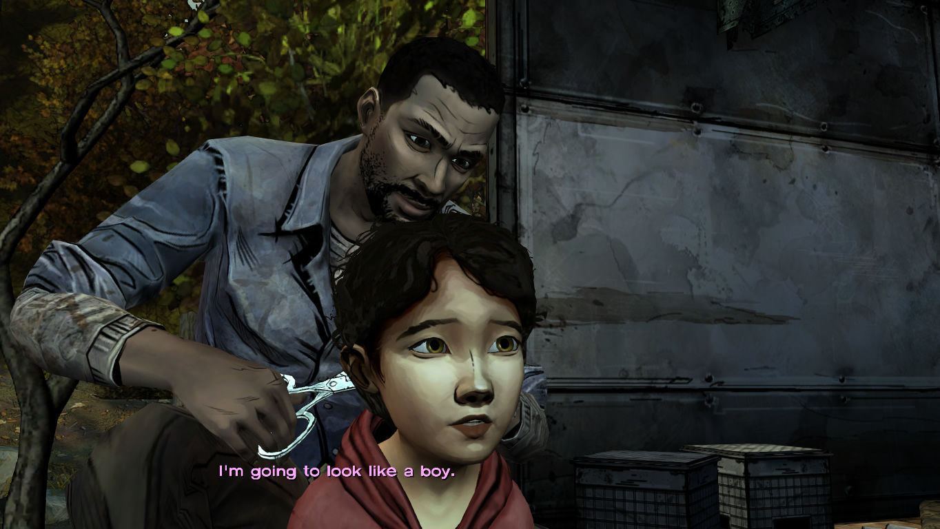 The Walking Dead Windows Episode 3 - Lee cuts Clem's hair so she doesn't get grabbed easily by the walkers.