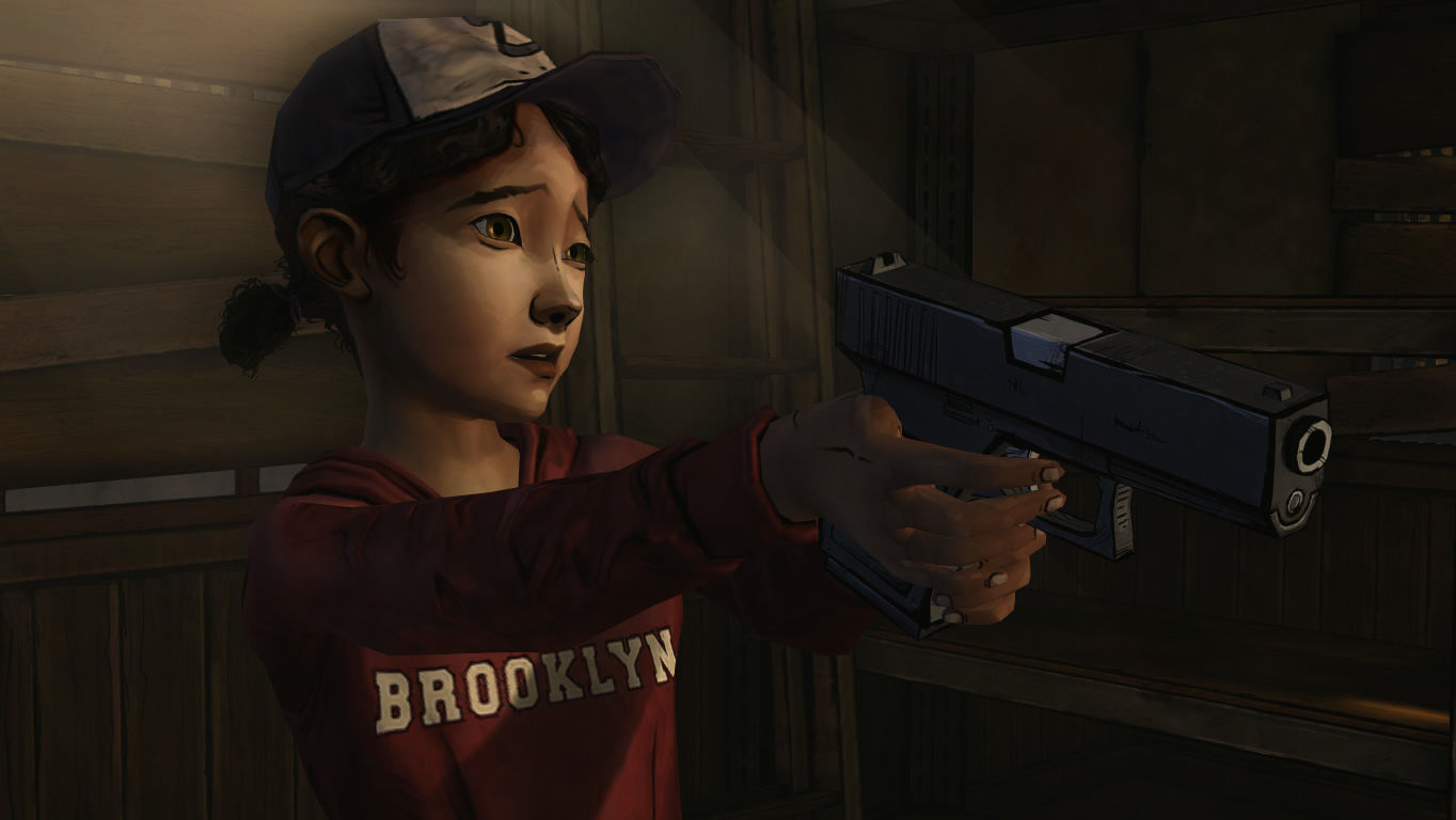 The Walking Dead Windows Episode 3 - Clem has to her gun practice to use.