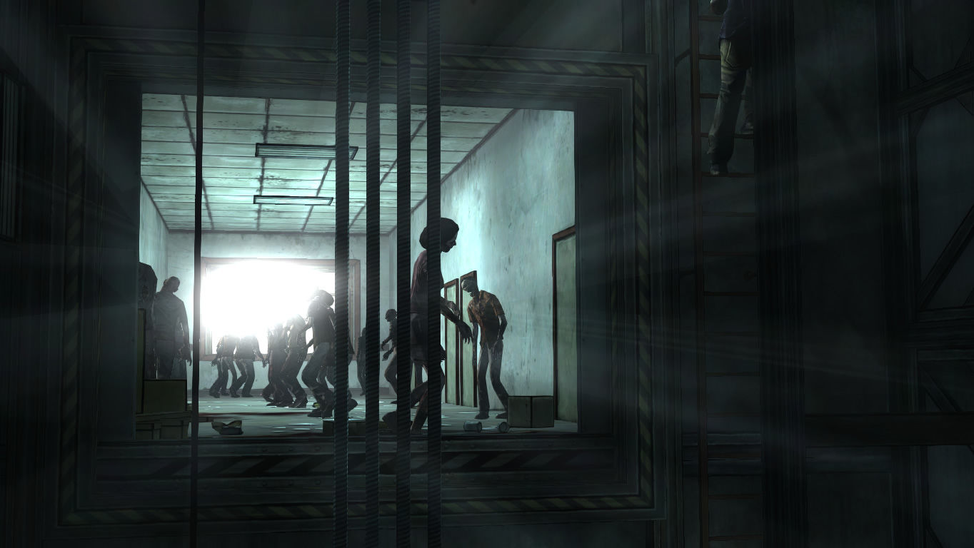 The Walking Dead Windows Episode 5 - Sneaking through the elevator shaft past some walkers.