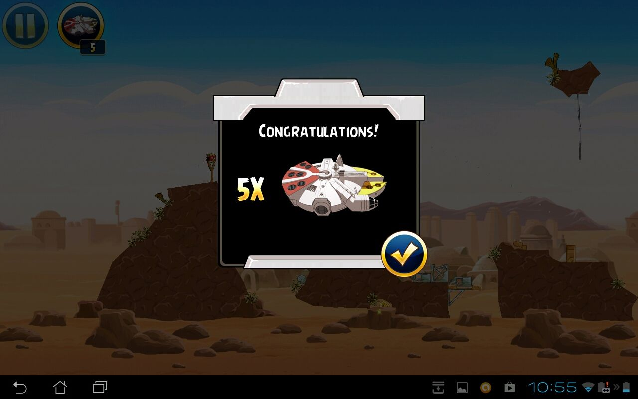 Angry Birds: Star Wars Android For every 10 stars that the player earns, they will receive 5 Millennium Falcon bonus powers.