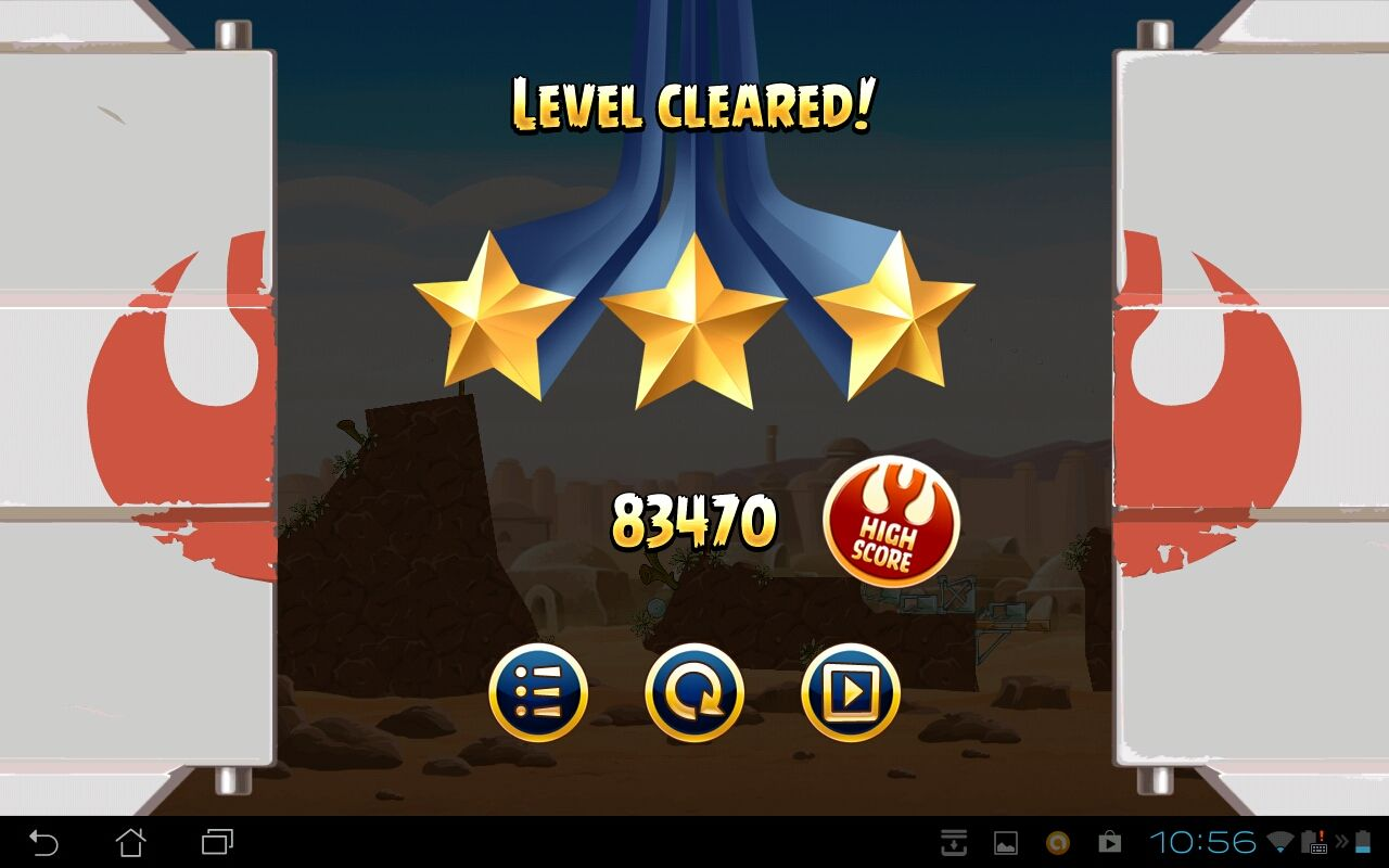 Angry Birds: Star Wars Android Level Clear screen
