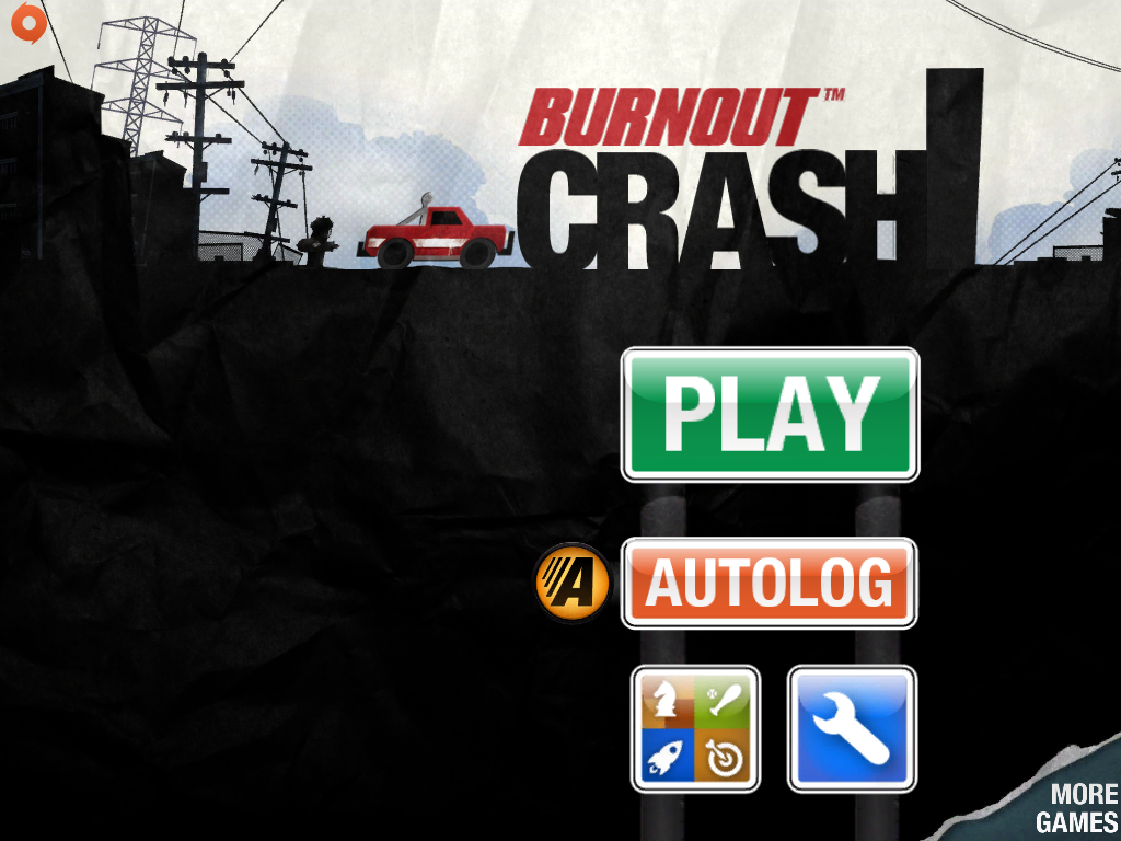 Burnout Crash! iPad Main menu