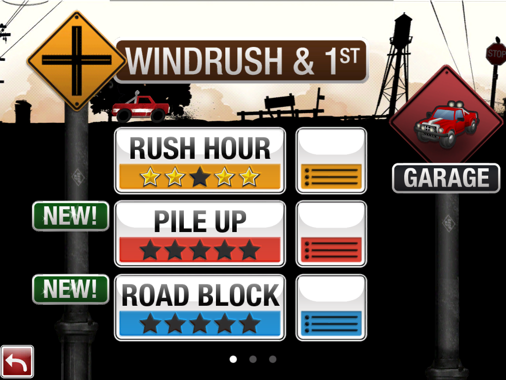 Burnout Crash! iPad Stage selection