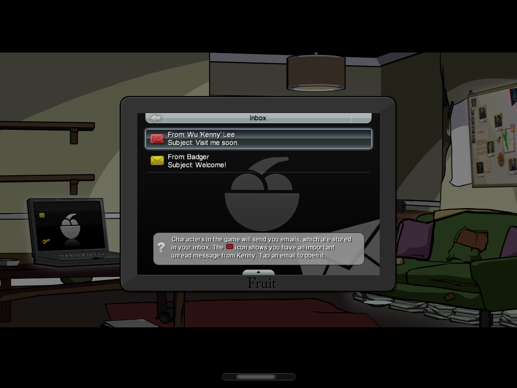 Grand Theft Auto: Chinatown Wars iPad Checking your mail.