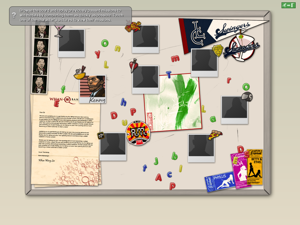 Grand Theft Auto: Chinatown Wars iPad Bulletin board with completed missions