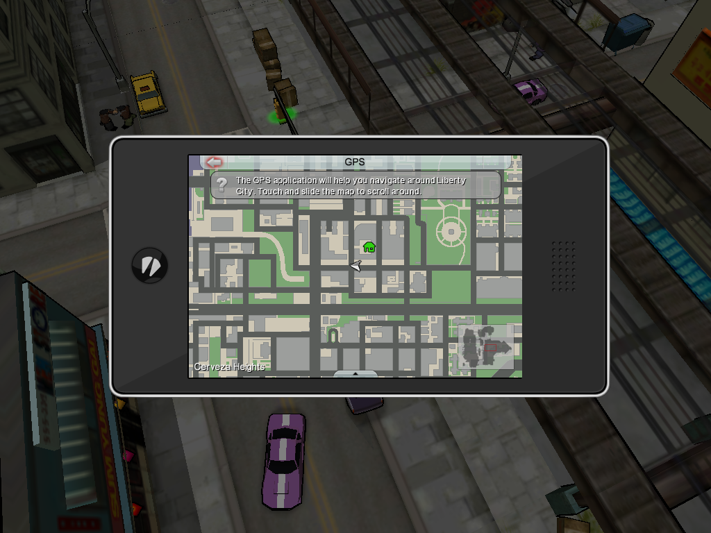 Grand Theft Auto: Chinatown Wars iPad Using the GPS on my phone.
