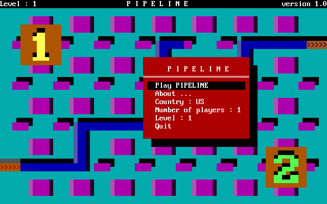 Pipeline DOS Game menu