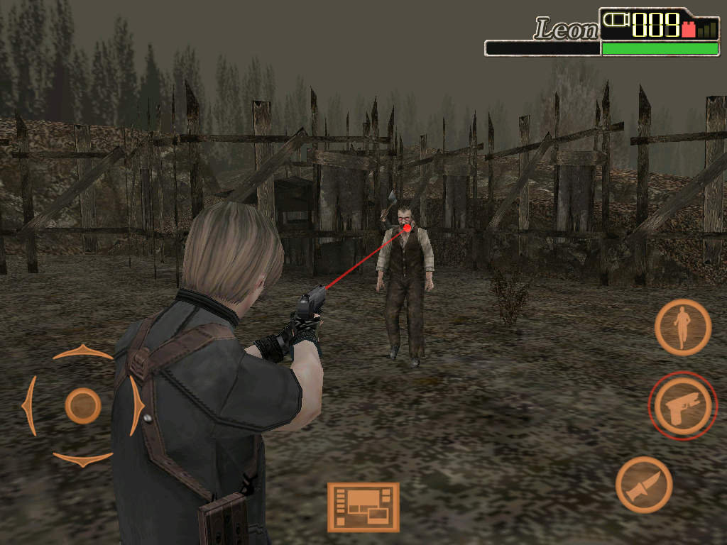 Resident Evil 4: Mobile Edition iPad Shooting some zombies.