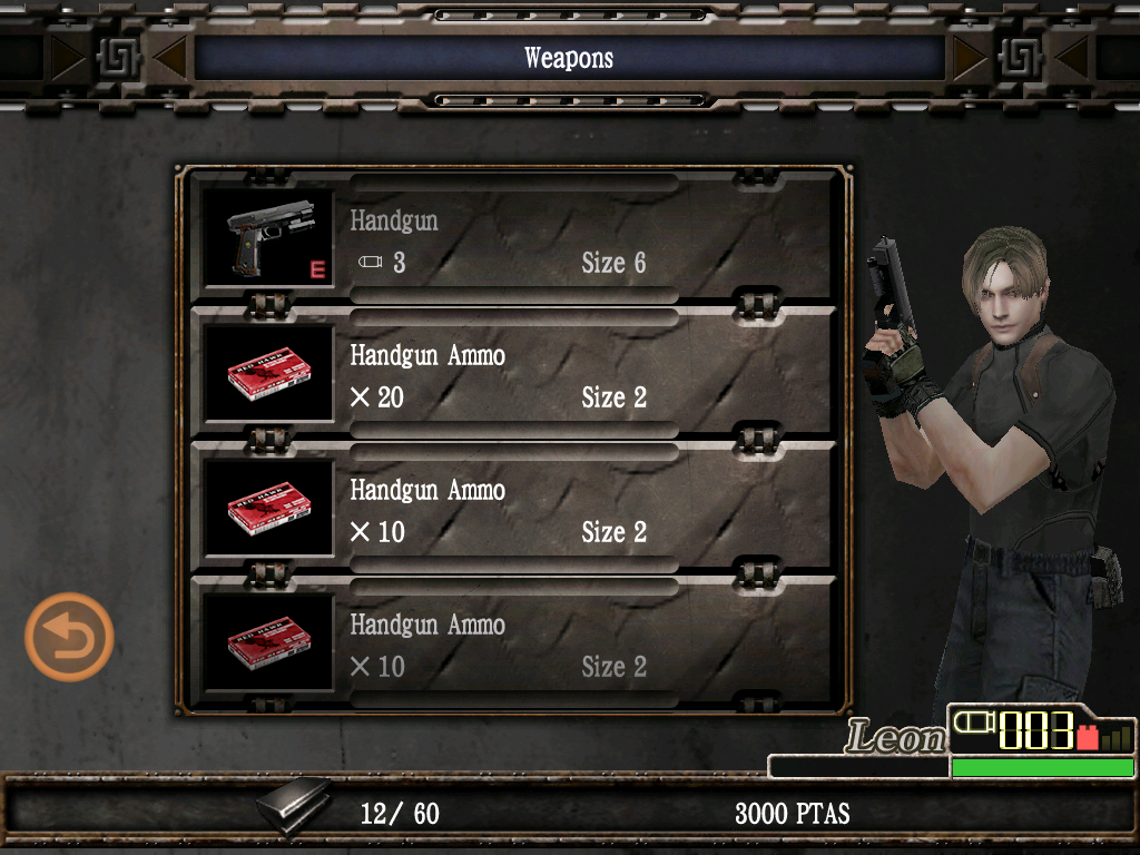 Resident Evil 4: Mobile Edition iPad Inventory