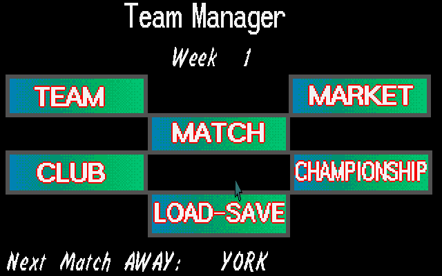 Soccer Team Manager DOS Main Menu.