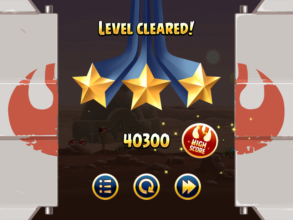 Angry Birds: Star Wars iPad Level cleared.
