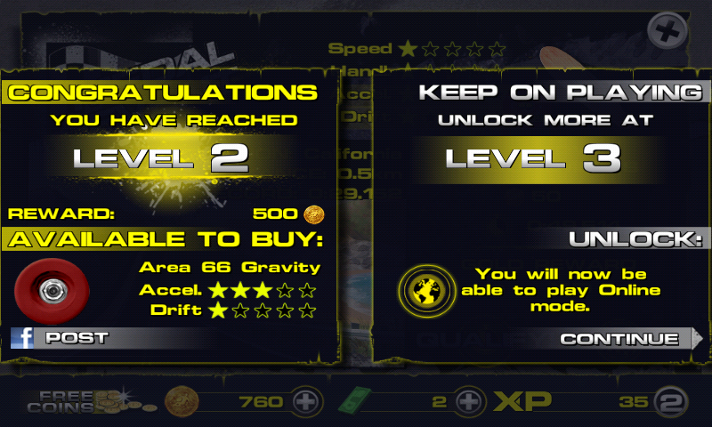 Downhill Xtreme Android Leveling up.