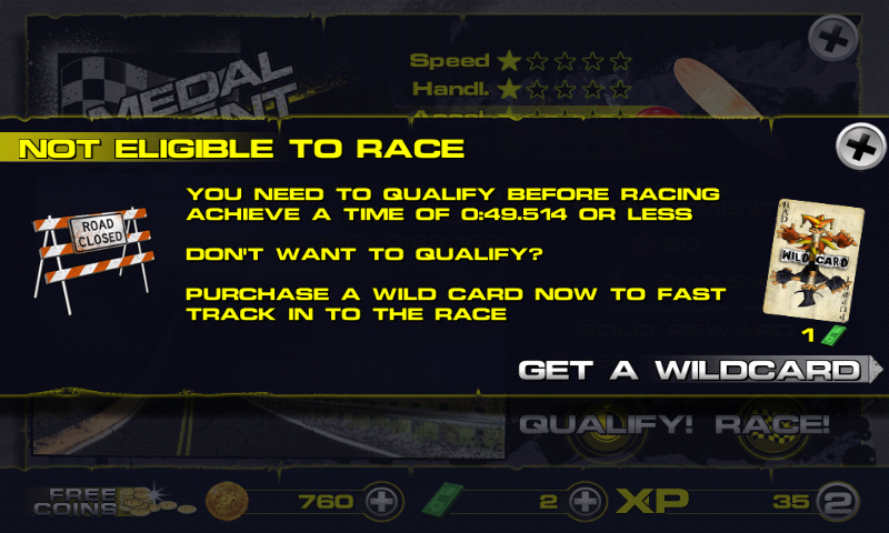 Downhill Xtreme Android Need to qualify before the main race.