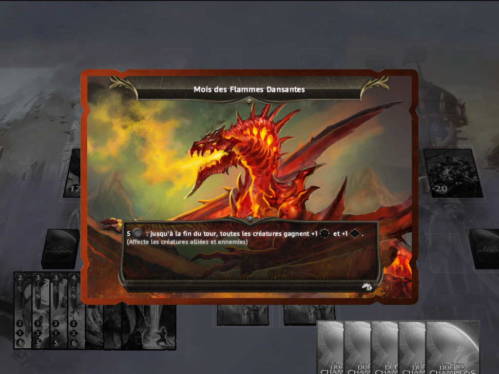"Might & Magic: Duel of Champions iPad Event cards are horizontal. This is the ""Month of the Dancing Flames""."