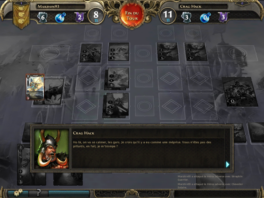 Might & Magic: Duel of Champions iPad In single-player modes, dialogs can occur during the battles.