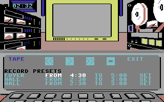 Killed Until Dead Commodore 64 You can set up tape recorder to tape surveillance video at set times.