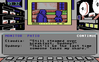 Killed Until Dead Commodore 64 Spying on Sydney and Claudia.