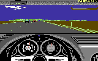 The Duel: Test Drive II Car Disk - The Muscle Cars Commodore 64 Sting Ray dashboard.