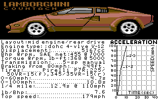 Test Drive II Car Disk: The Supercars Commodore 64 Lamborghini Countach