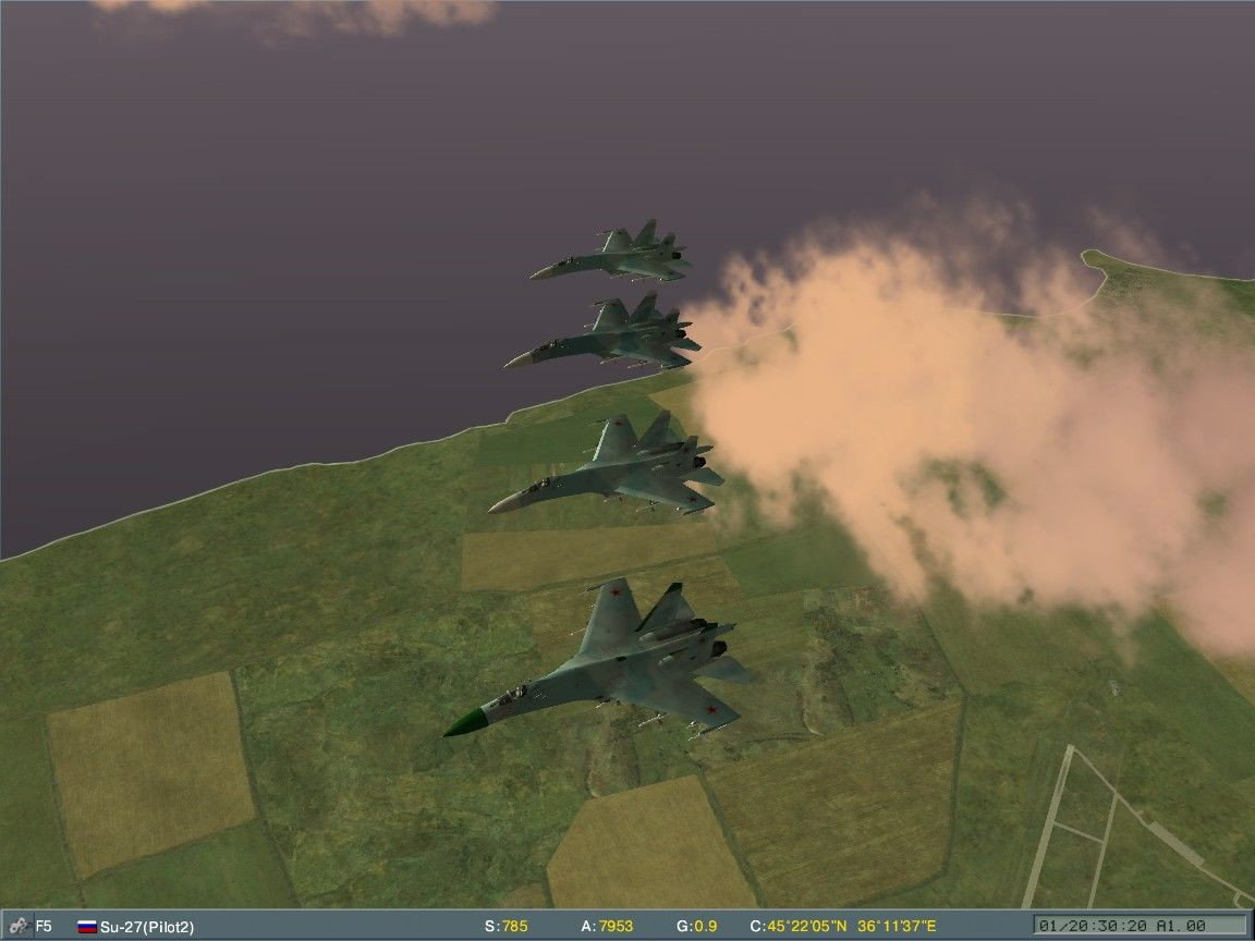 Lock On: Modern Air Combat Windows Su-27 Flankers patrol the skies.